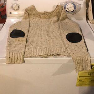 Black and white tweed tan sweater